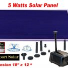 "LARGE SOLAR POWER POND WATER PUMP 18"" SOLAR PANEL 5 WATTS"