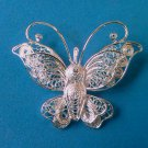 vintage butterfly broach pins - silver-red coated wings- silvermetal-rhinestones 2pcs