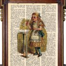 ALICE IN WONDERLAND Drink Me Upcycled Art Print Illustration Book Page Print Antique Vintage Books