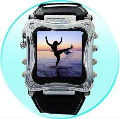 Metallic 1.5 Inch OLED MP4 Watch Player - 2GB  [CVDAD-X18-B]