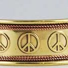 Peace Sign Engraved Copper and Brass bracelet