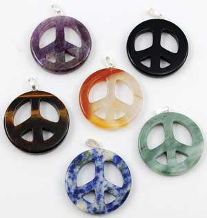 Peace Sign Gemstone Pendant
