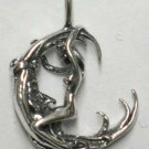 Woman facing Moon Pendant - Sterling Silver