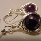 Amethyst Petite Wire Wrap Dangle Earrings, Anti-Stress Stone, Inner Peace, Spiritual Wisdom