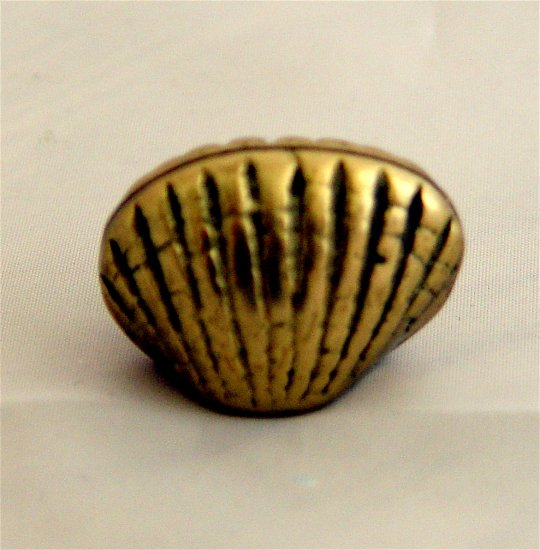 BRASS CLAMS QUAHOG Place Card Holder Set 6 pcs- Vintage