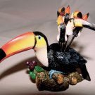 COCKTAIL FORKS & CONTAINER - Toucan Motiff - NEW