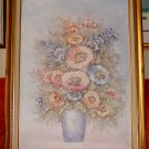 STILL LIFE - PASTEL FLOWERS -  Acrylic Painting - Framed