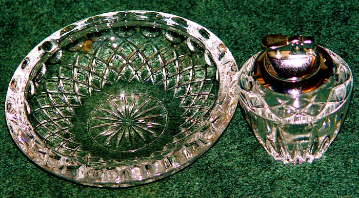 Lead Crystal Lighter and Ashtray Set - VINTAGE