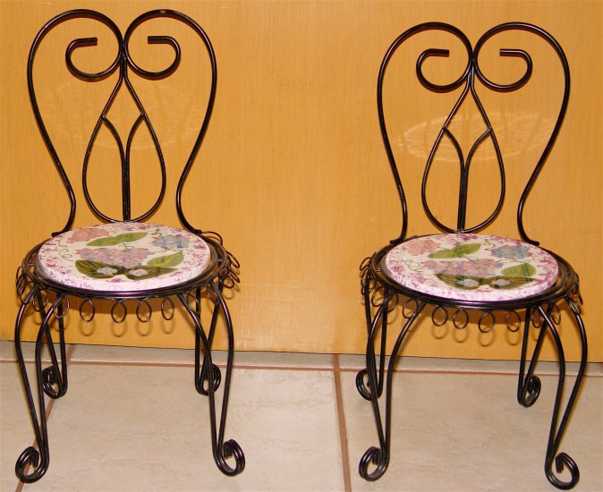 Chair Pot Stand/Plant Rack/Dollhouse - Wrought Iron & Porcelain