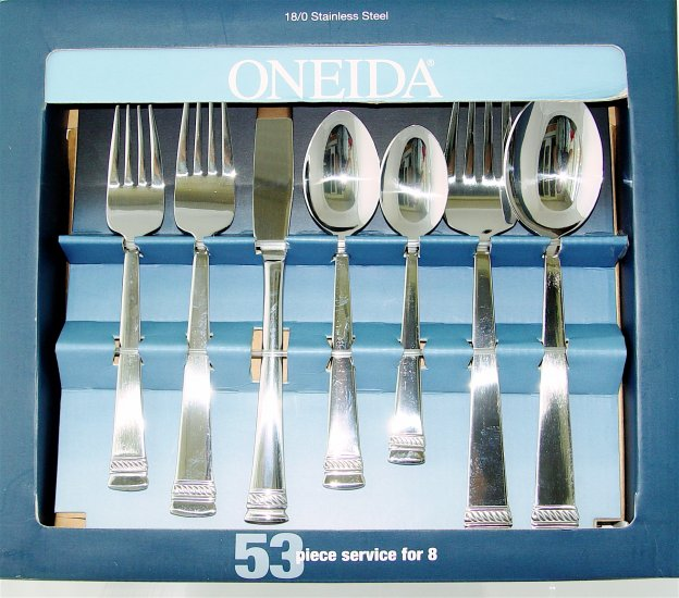 ONEIDA DORSET 53 pc Flatware - Stainless Steel - NEW