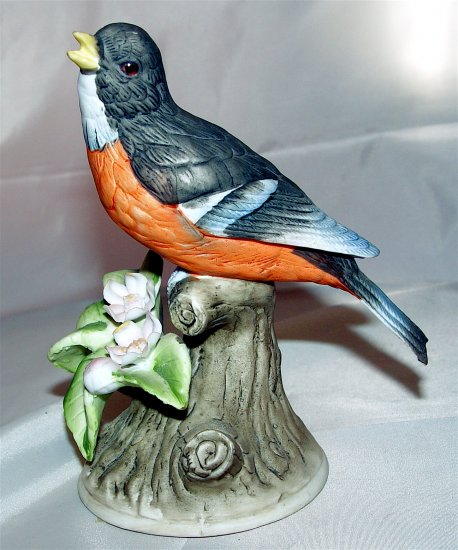 ROBIN BIRD DECOR - Royal Crown Hand Painted Porcelain