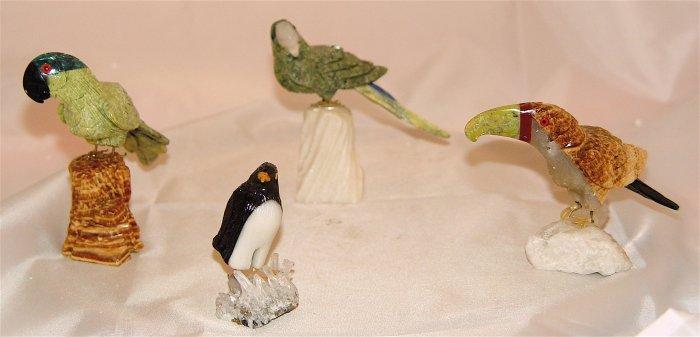 GEMSTONE BIRD SCULPTURE COLLECTION - 4 pcs - NEW