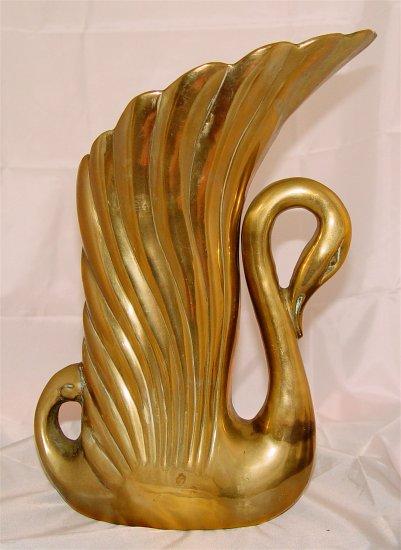 SWAN VASE - Heavy Gauge Solid Brass - Vintage