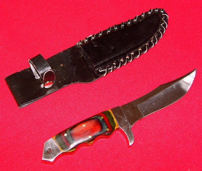 HUNTING KNIFE - with LEATHER SHEATH