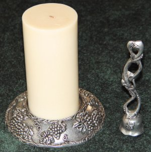 CANDLE STICK HOLDER (PILLAR) & SNUFFER - Metal - Ornate