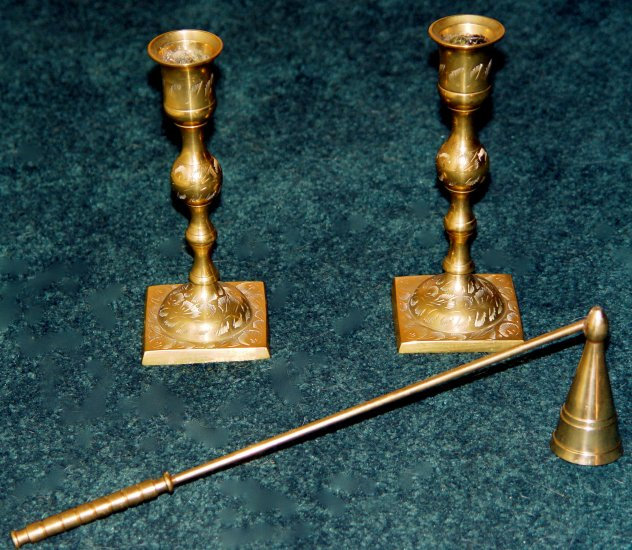 CANDLE STICK HOLDER (2 pcs) & SNUFFER - Brass- Vintage