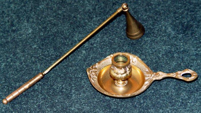 CANDLE STICK HOLDER & SNUFFER SET- Brass - Ornate - Vintage