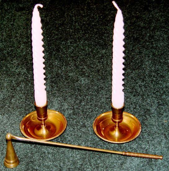 CANDLE STICK HOLDERS & SNUFFER SET (2 pcs) - Brass- Vintage