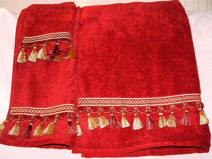 GUEST TOWEL SET w/ Tassel Trimmings- Burgundy - 3-pc.