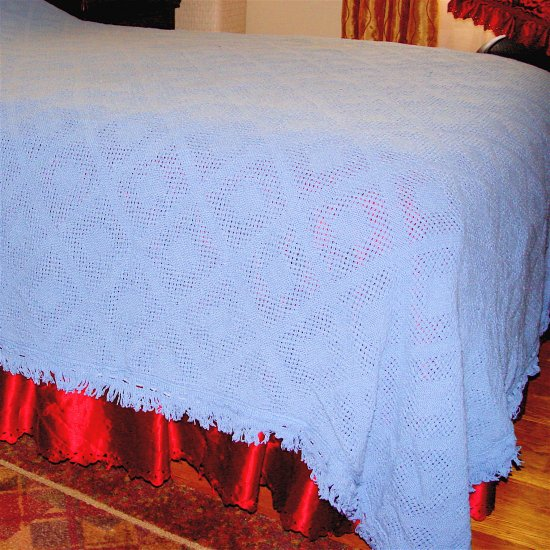 BEDSPREAD COVERLET for TWIN BED - available in PINK or BLUE