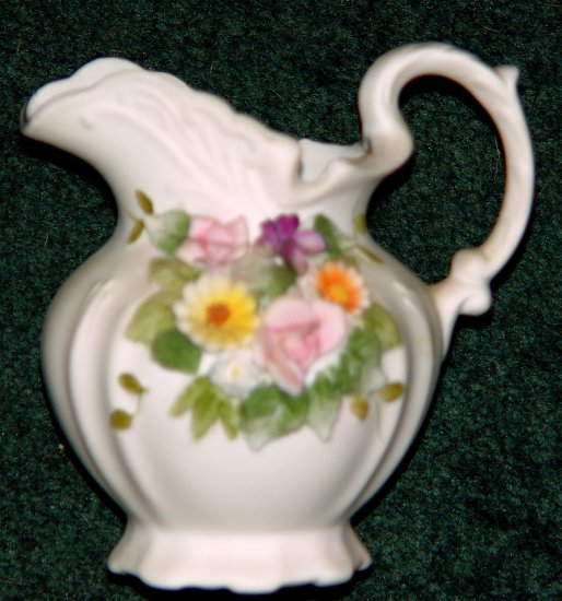 Lefton China KW3221 Floral Bisque Pitcher & Bowl - RARE