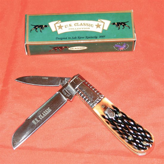 BARLOW PATTERN TWO BLADE BROWN JIG BONE KNIFE (NIB)