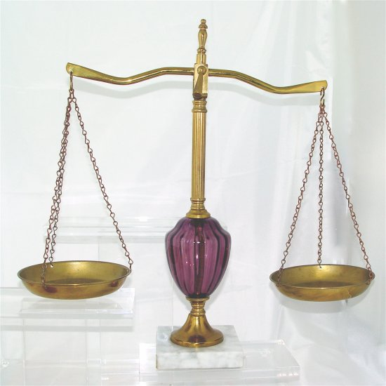 BRASS and AMETHYST GLASS BALANCE SCALE - VINTAGE