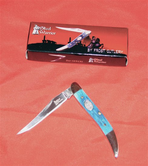 BLUE POCKET KNIFE - STEEL WARRIOR TOOTHPICK CANCUN KNIFE (NIB)