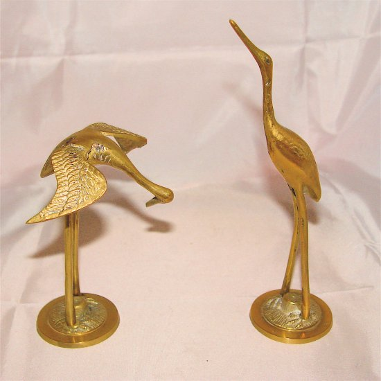 HERONS or EGRETS - SMALL Brass (2 pcs) - VINTAGE!
