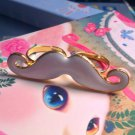 Cute Adjustable Moustache Ring (white)