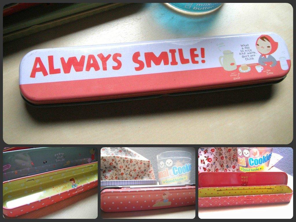 Cute Korean Tin Pencil Case (Always Smile)