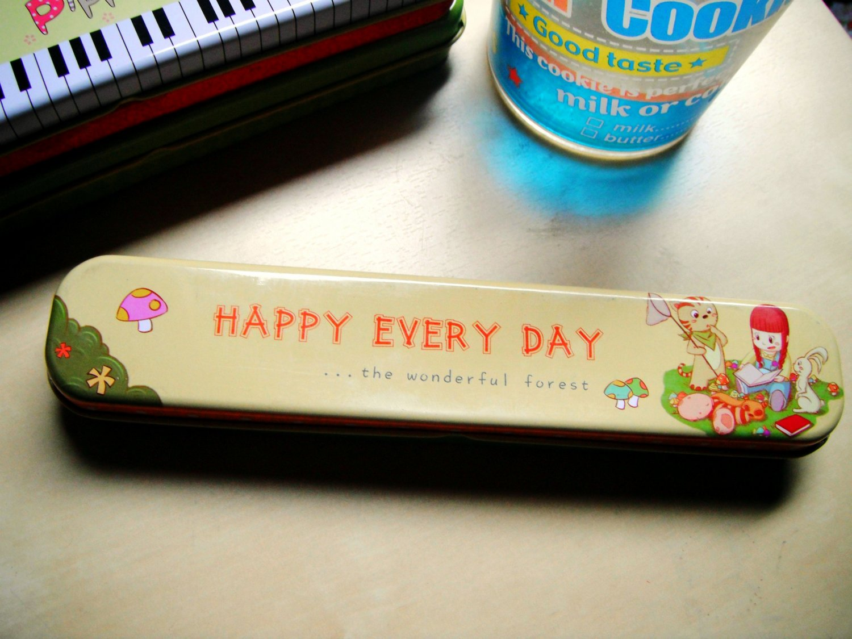 Cute Korean Tin Pencil Case (Happy Day)