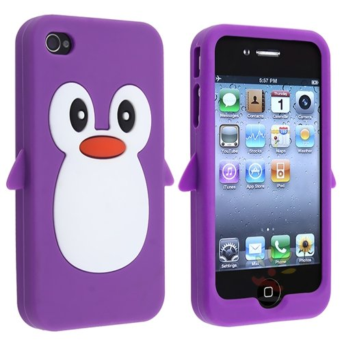 Cute Penguin Iphone4 Cover (purple)