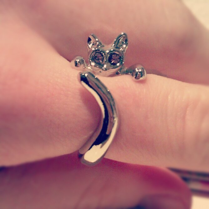 Cute cat ring silver/purple (adjustable)