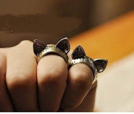 Cute Cat Ear ring (SILVER)