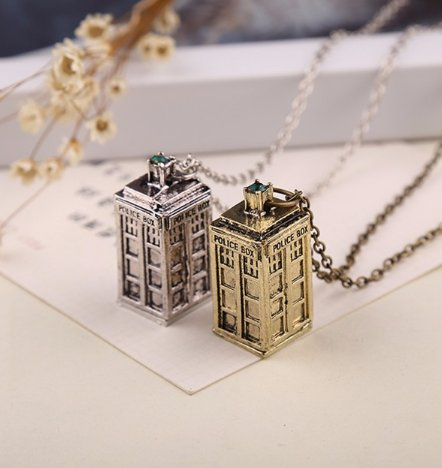 Dr Who Tardis Necklace (Gold colour)