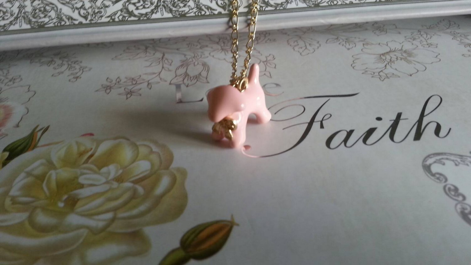 Cute Dog Necklace (pink)