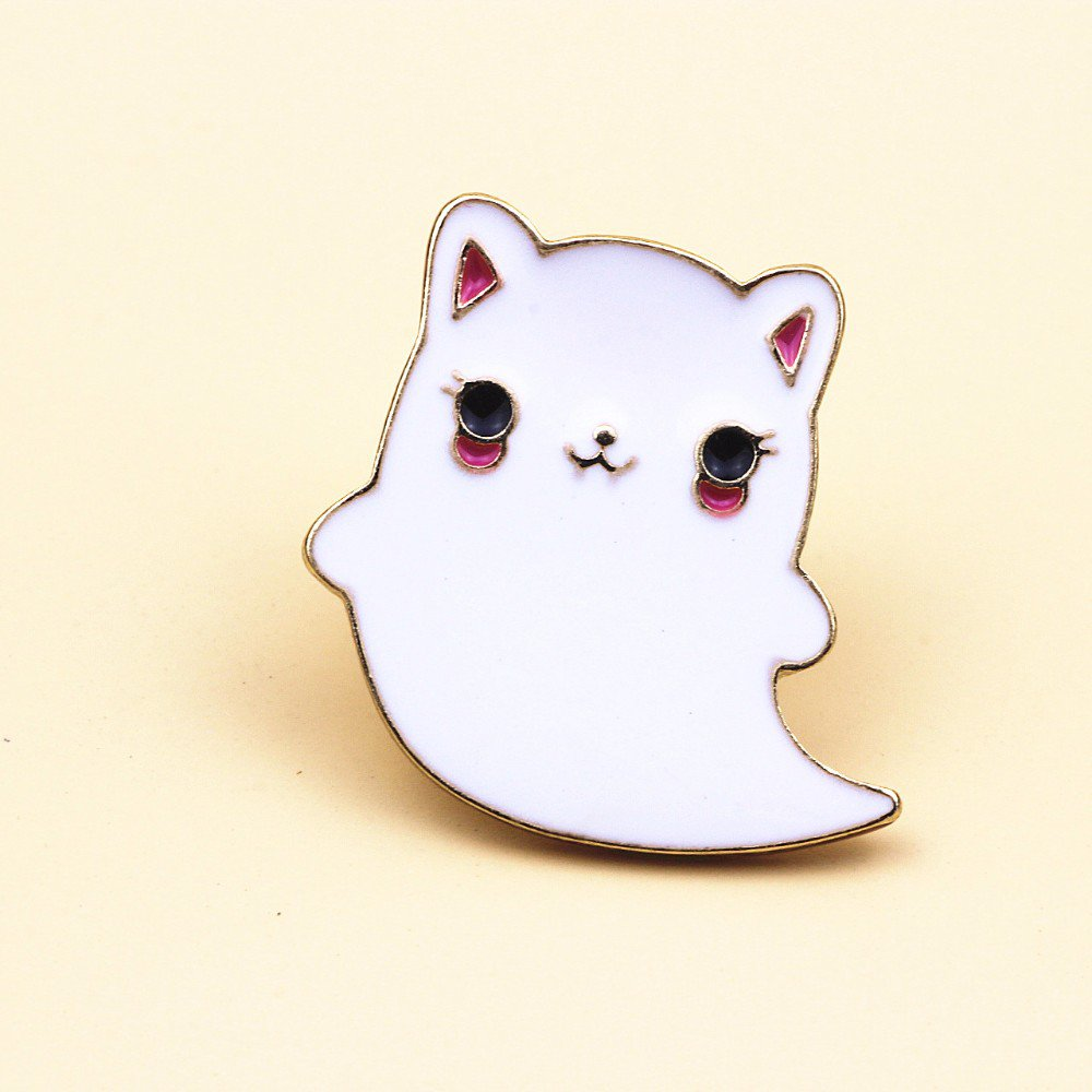 Ghost cat pin brooch