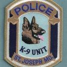 St. Joseph Missouri Police K-9 Unit Patch
