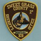 Sweet Grass County Sheriff Montana Police K-9 Unit Patch