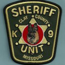 Clay County Sheriff Missouri Police K-9 Unit Patch