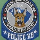 Wagener South Carolina Police K-9 Unit Patch