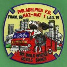Philadelphia Fire Department Foam 60 Ladder 19 Haz Mat Company Patch