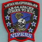 3rd AVN USMC AH-64 APACHE VIPOS MILITARY HELICOPTER PATCH VIPERS