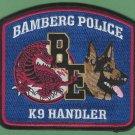Bamberg South Carolina Police K-9 Unit Patch