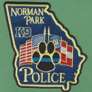 Norman Park Georgia Police K-9 Unit Patch