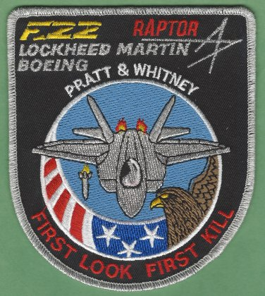 U.S. Air Force Lockheed Martin-Boeing F-22 Raptor Military Fighter Aircraft Patch