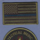 GREEN Tactical SWAT Team Medic Patch With Opposing Flags