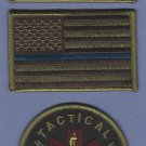 GREEN Tactical Medic Patch Set With Opposing Flags