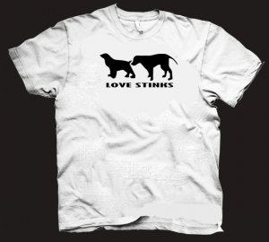 Love Stinks t-shirt.  Funny dog love sniffing shirt.  Size S